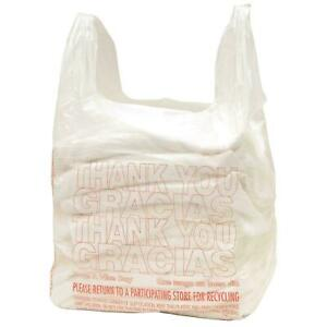 Lot Of 20 T shirt Bags Shopping Plastic Grocery Store Retail Carry Out 16 x11