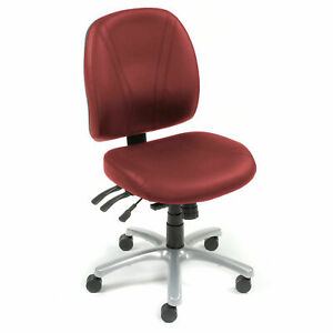 Multifunctional Office Chair Mid Back Synthetic Leather Burgundy