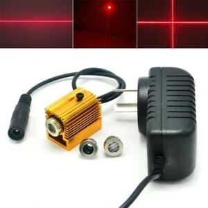 650nm 100mw Red Dot Line Cross Head Focusable Laser Diode Module W 5v Adapter H