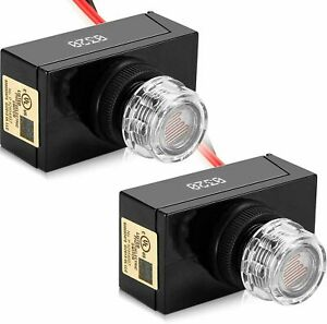 Hardwire Dusk To Dawn Photocell Sensor Switch For Outdoor Light Fixtures 2 pack