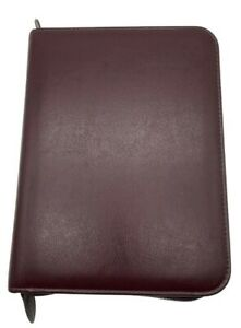 Day Timer Planner Leather Organizer Burgundy 10 5 X 8 Zippered 7 Ring Pockets