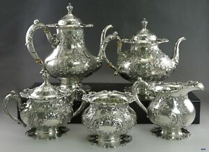 5pc Vintage C1930 Sterling Silver Frank Whiting 6727 Tea Coffee Set