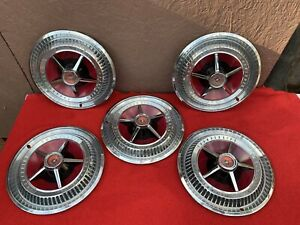 5 Vintage 65 66 Thunderbird Hubcaps 15 Inch With Wheel Covers Great Cond