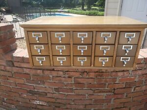 15 Drawer Card Catalog Wood File Cabinet Library Index With Top