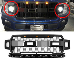 For 18 20 Ford F150 Raptor Style Painted Black Bumper Mesh Grille W Led Light