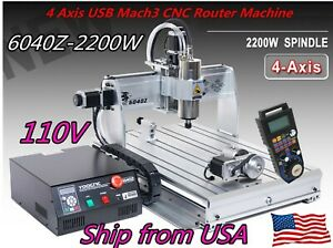 Usb 4 Axis Cnc 6040 2 2kw Spindle Engraving Woodworking Cutting Milling Machine