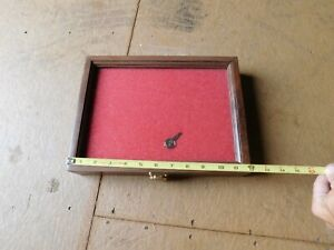 Small Wood Glass Front Locking Hinged Display Case
