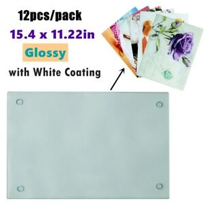 12pcs pack Glossy Sublimation Blanks Tempered Glass Cutting Board White Coating