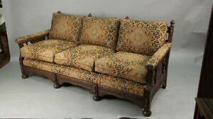 Spanish Revival Sofa With Carved Wood Frame New Upholstery 13550