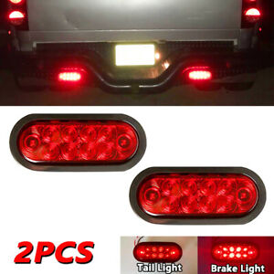 2xfor Trailer Truck 10 Led Sealed Red 6 Oval Stop Tail Turn Signal Brake Light