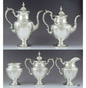 C1940 Fabulous Hirsh Hand Chased Sterling Silver 5pc Victoria Tea Coffee Set