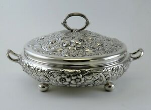 Huge Antique Sterling Silver Hand Chased Floral Entree Covered Serving Dish Bowl