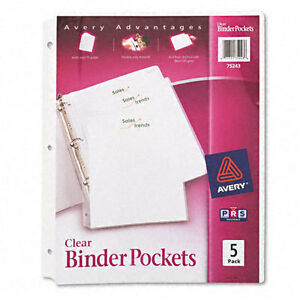 Avery Clear Plastic Binder Pockets 3 Hole Punched 9 X 11 New 5 Pockets 75243