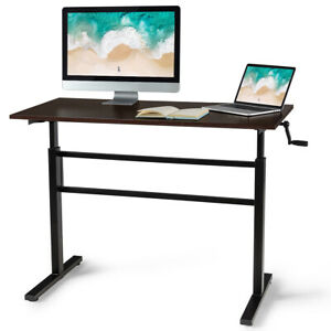 Standing Desk Height Adjustable Sit To Stand Workstation W crank Handle Brown