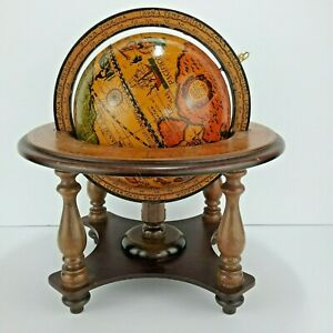 Vintage Made In Italy Wooden Desktop Old World Astrology Zodiac Rotating Globe