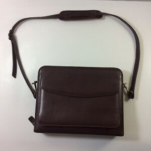 Franklin Covey Classic Full Grain Aniline Leather Zip Planner Binder Purse Strap
