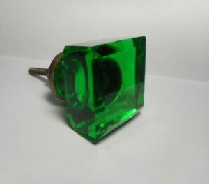 Beautiful Vintage Emerald Green Glass Furniture Drawer Or Cabinet Pull Or Knob