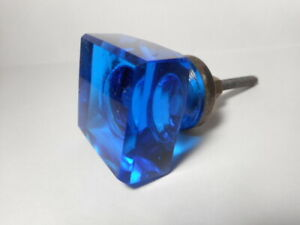 Beautiful Vintage Blue Glass Furniture Drawer Pull Or Cabinet Knob