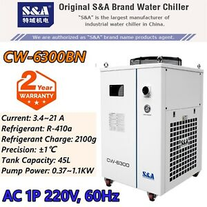 S a 3 6hp Ac 1p 220v 60hz Cw 6300bn Industrial Water Chiller 300w For Laser Tube