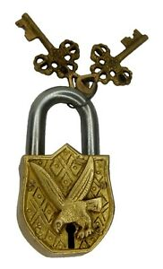 Golden Eagle Padlock Antique Style Handmade Solid Brass Security Lock Home Decor