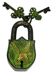 Green Eagle Padlock Antique Vintage Style Handmade Solid Brass Security Lock
