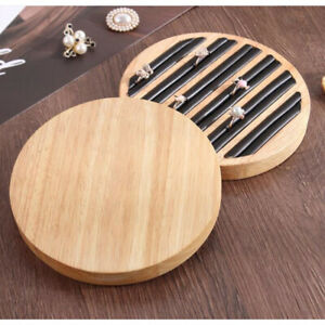 Wooden Collect Jewelry Ring Display Tray Holder For Home Store Black Leather