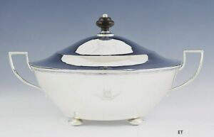 Antique 2 Handle Sterling Silver Covered Entr E Round Serving Dish Tureen
