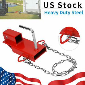 2 Clamp On Forklift Hitch Receiver Trailer Towing Adapter Attachment W Chain