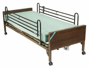 Drive Medical 15004bv pkg Semi Electric Hospital Bed With Full Rails And Innersp