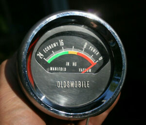 60s Oldsmobile Vintage Console Manifold Vacuum Gauge In Cup