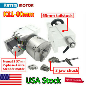 Usa Rotary Table A 4th Axis 3 Jaw 80mm Chuck 6 1 tailstock For Woodworking cnc