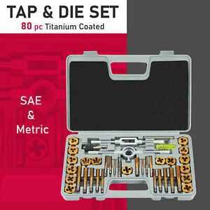 Sae Metric Tap And Die Tool Set 80 Pieces Threading Chasing Repair With 2 Cases
