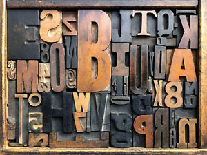 Antique Letterpress Printers Wood Type Mix 51 Pieces W Full Alphabet Numbers