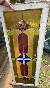 Vintage Stained Leaded Glass Transom Window 100 Yr 52 X 17 5