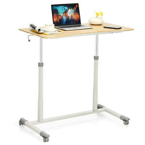 Goplus Height Adjustable Computer Desk Sit Stand Rolling Notebook Table Natural
