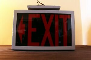 Vintage Lighted Glass Exit Sign Fire Emergency Industrial Red On Black 3 Bulb