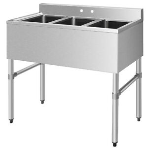 Stainless Steel Kitchen Commercial Sink W 3 Compartments Heavy Duty Home