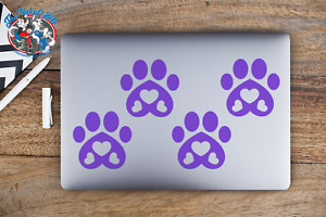 Paw Print Stickers Car Laptop Bumper Decal Paws With Hearts Pets Dog Cat Love