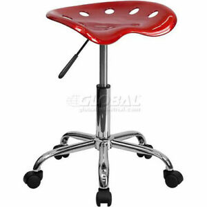 Tractor Seat Chrome Stool Vibrant Wine Red
