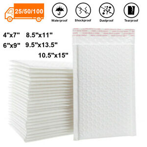 25 50 100 Poly Bubble Mailers Padded Envelope Shipping Bag Self Sealing Any Size