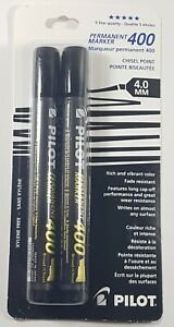 2 Pilot Permanent Markers 400 Chisel Tip 4 0mm Rich And Vibrant Xylene Free