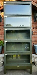 Vintage Rare Army Green Globe Wernicke 5 Stack Industrial Barrister Bookcase