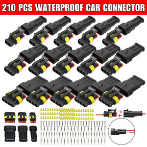 15 Sets 2 3 4 Pin Way Sealed Waterproof Electrical Car Wire Connector Plug Kit
