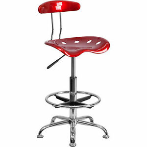 Drafting Stool W tractor Seat Vibrant Wine Red Chrome