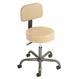 Anti Microbial Vinyl Medical Stool With Backrest Beige