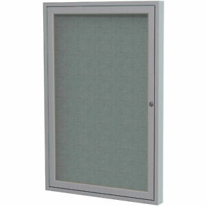 Ghent 174 1 Door Enclosed Fabric Bulletin Board Gray Fabric silver Frame