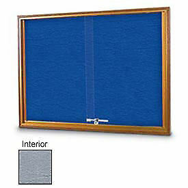 United Visual Products 72 w X 48 h Sliding Glass Gray Easy Tack Board With Light