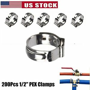 1 2 Pex Clamp Cinch Rings Crimp Pinch Fittings 304 Stainless Steel 200pcs