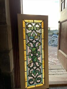 Sg 3770 Antique Stained Glass Transom Window 17 X 44 25