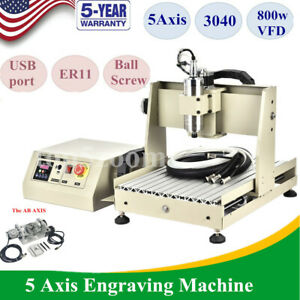 Usb 5 Rotating Axis 800w Cnc 3040 Router Mill Engraving Machine 110v 0 8kw Vfd